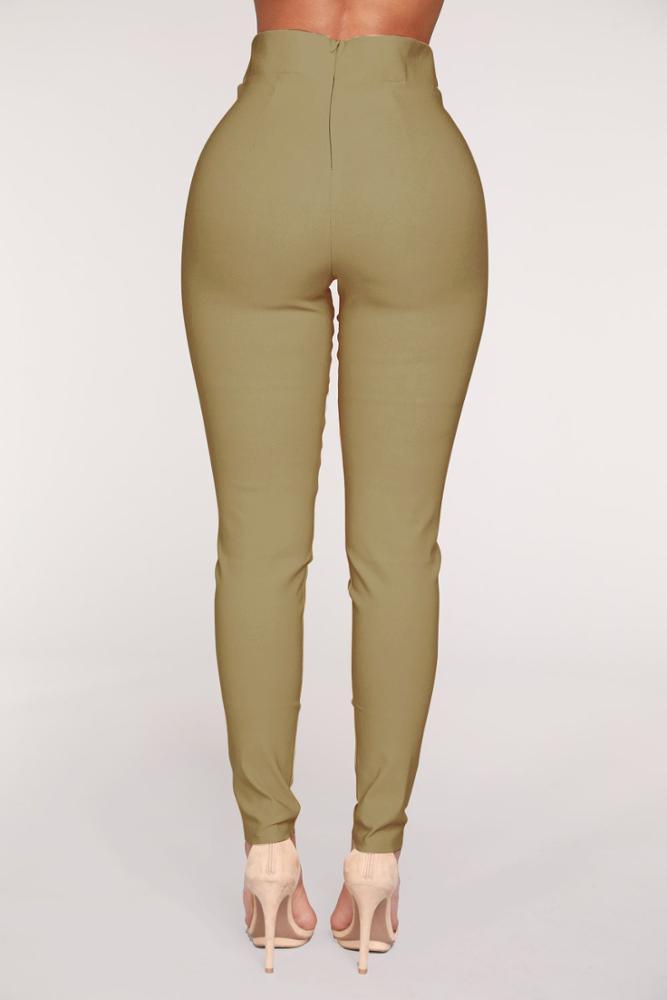 Брюки-карандаш женские с завышенной талией, модные повседневные эластичные длинные брюки с поясом, цвет хаки, черные, E81739, на лето