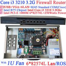 firewall and router 1U Barebone system with six intel PCI-E 1000M 82574L Gigabit LAN Intel Core i3 3210 3.2Ghz Mikrotik ROS etc