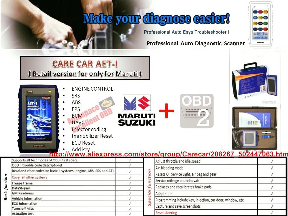 Wholesale-Free Shipping Original AET-1 CareCar AET-I Car Diagnose Scanner  For India Maruti/Suzuki/TATA/Mahindra/Hyundai
