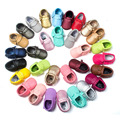 Free Shipping 29 Colors Tassel Leather Baby Shoes Bling Moccasins Baby Toddler Shoes Newborn Baby Shoes