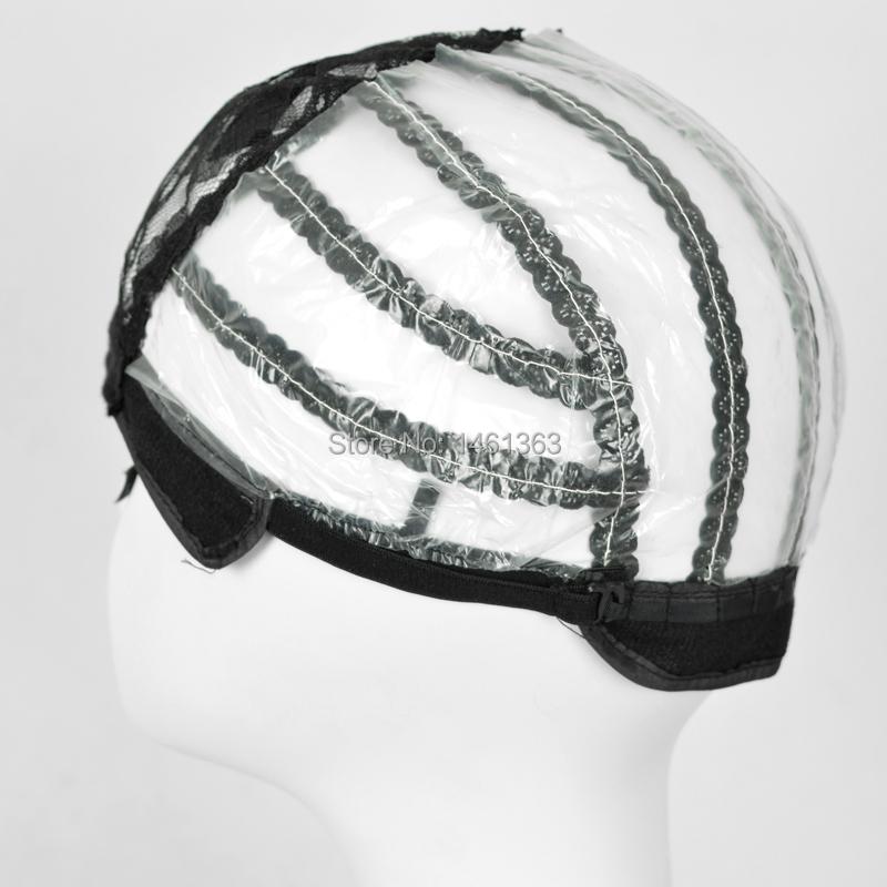 Средний размер черный парик шапки для изготовления прошитый парики с регулируемый простирание кружево ремешком на черный
