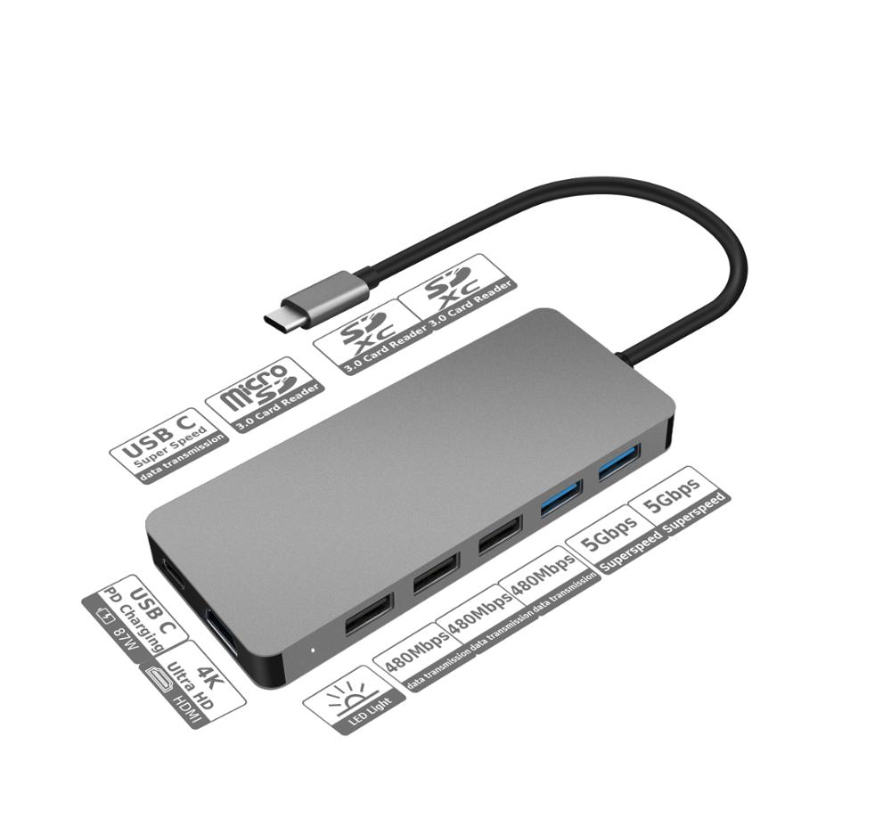HYD-9845T Aluminium alloy 11 in 1Type c HUB with3.0 card reader 4k ultra HD PD charging 87W 5Gbps super speed data transmission - USBSKY   USBSKY.NET