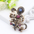 Classic Vintage Turkish Gold Plated Floral Brooch For Women Jewelry Retro Sapphire Broches Brooch Ladies Engagement