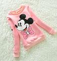 2016 New Children Fashion Hoodies Girls Warm Plus Velvet Sweatshirts Kids Cute Cartoon Minnie Sweater Child