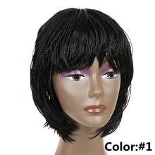 Feibin волосы Плетеный женский короткий парик афро выжимающий контейнер синтетические косички, волосы парик для Для женщин природа черный Бес...(Китай)