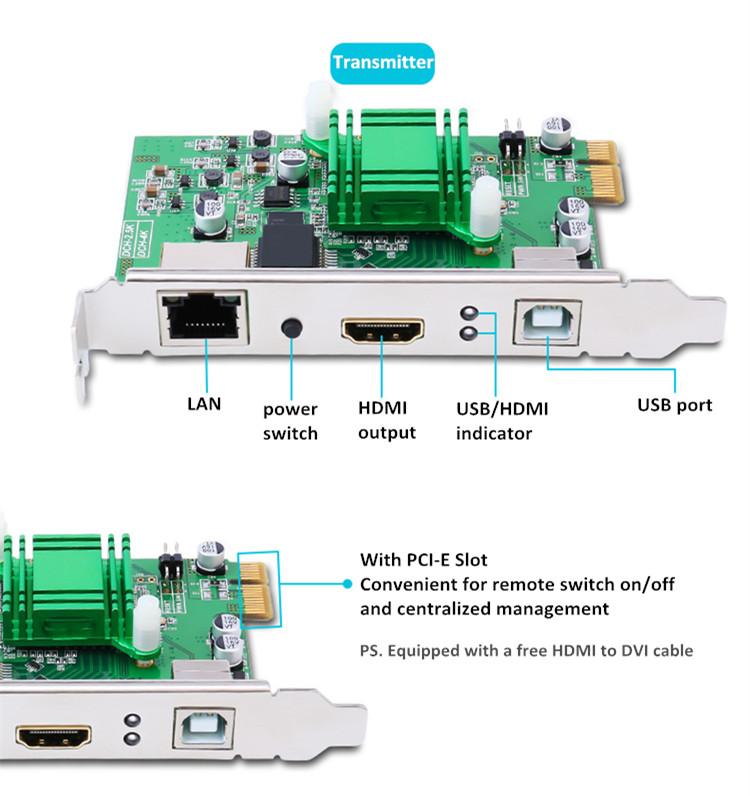 DTECH OEM/ODM HD 1080p 3840X2160 30hz 100M DCH-4K USB2.0 HDMI KVM EXTENDER