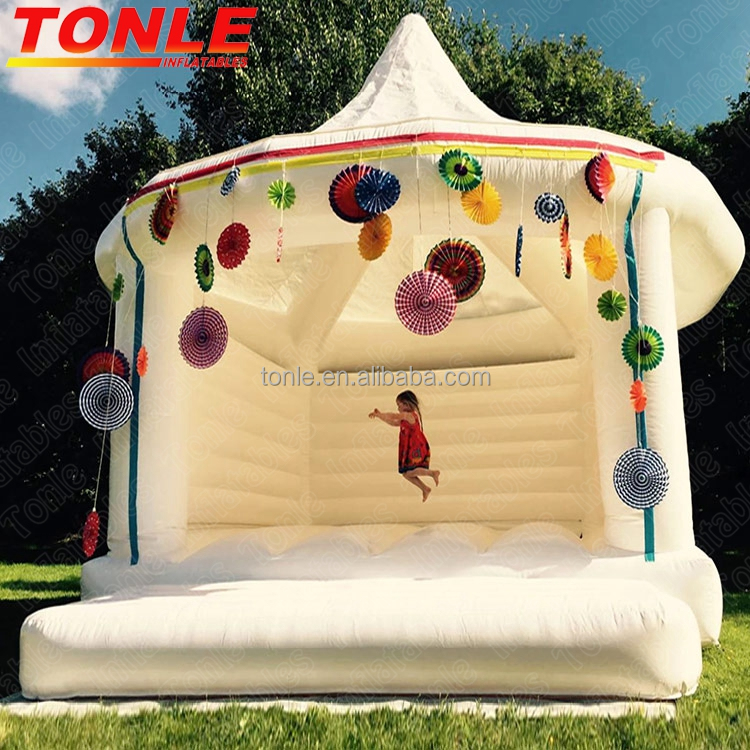 adults kids inflatable white wedding bouncy castle,bounce house for sale