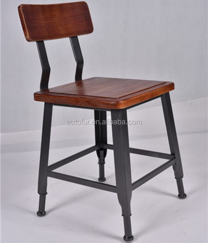 Industrial dining room Furniture metal solid wooden chair