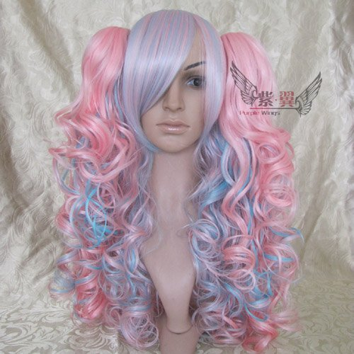"New wig/doll ""lolita"" Long curly pink blue mixed Cosplay"