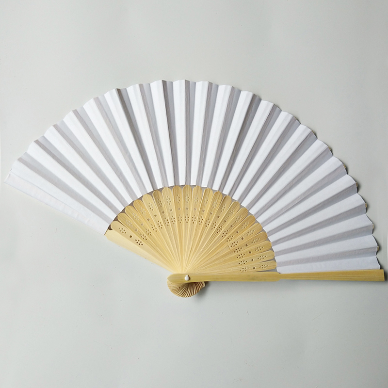 21 см Чистый белый бамбуковый бумажный веер, Свадебный рекламный веер