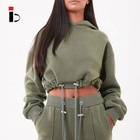 Fitness apparel Hot Sale crop Cotton Fleece Womens Hoodies With Drawstring