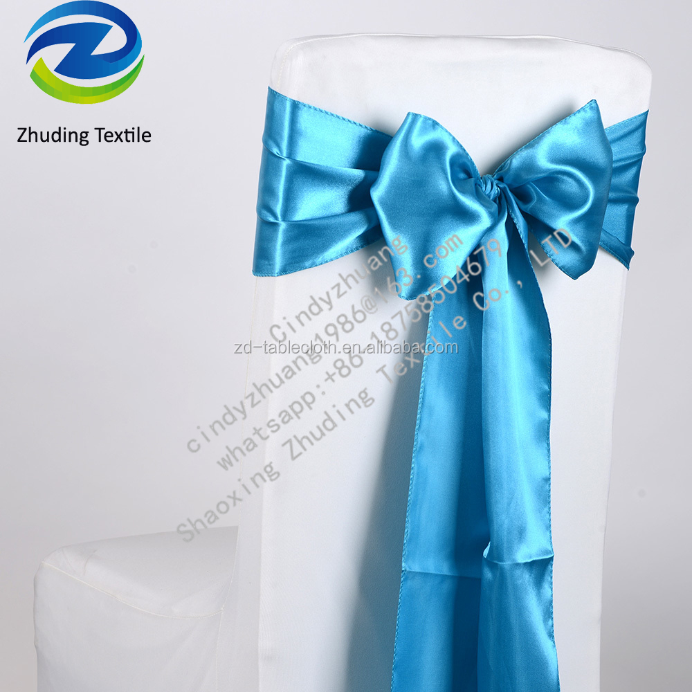 Shaoxing Zhuding turquoise stain chair sashes for wedding 6X106 inch