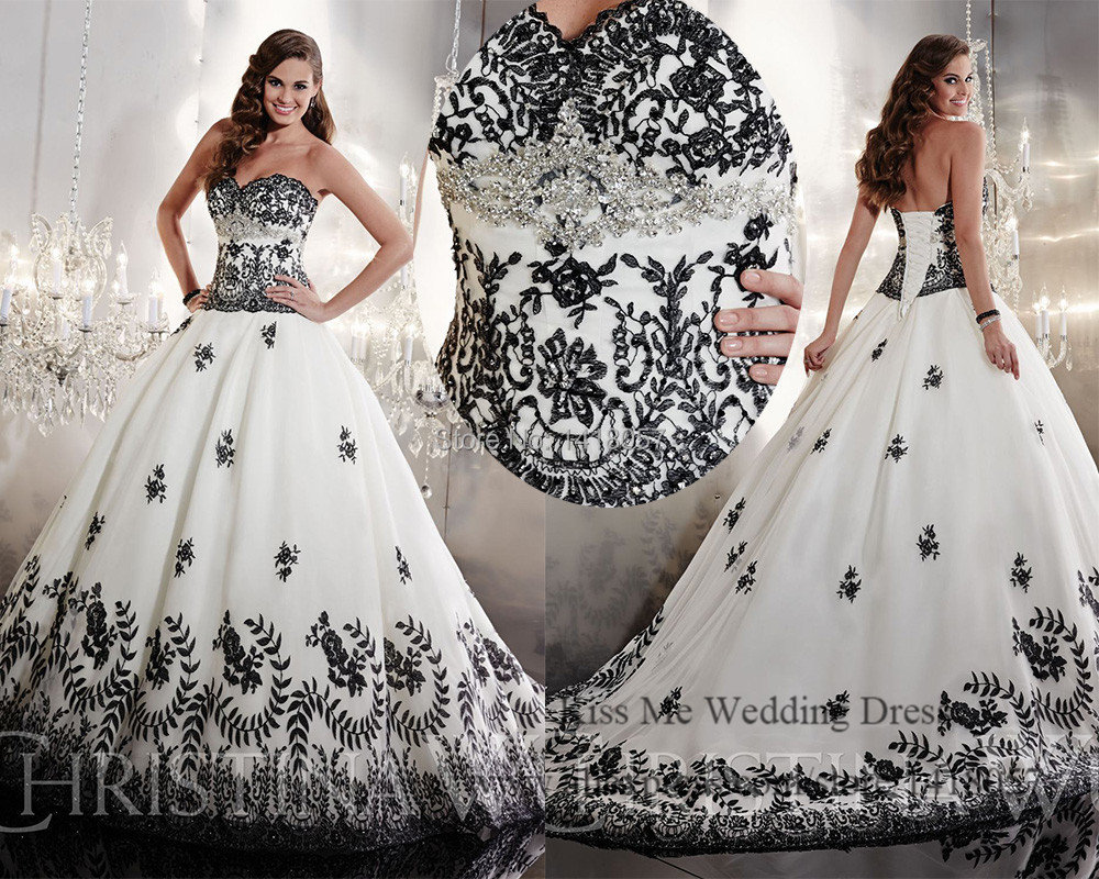 Lace Wedding Gowns: Embellished White And Black Wedding Dress 2015 Princess