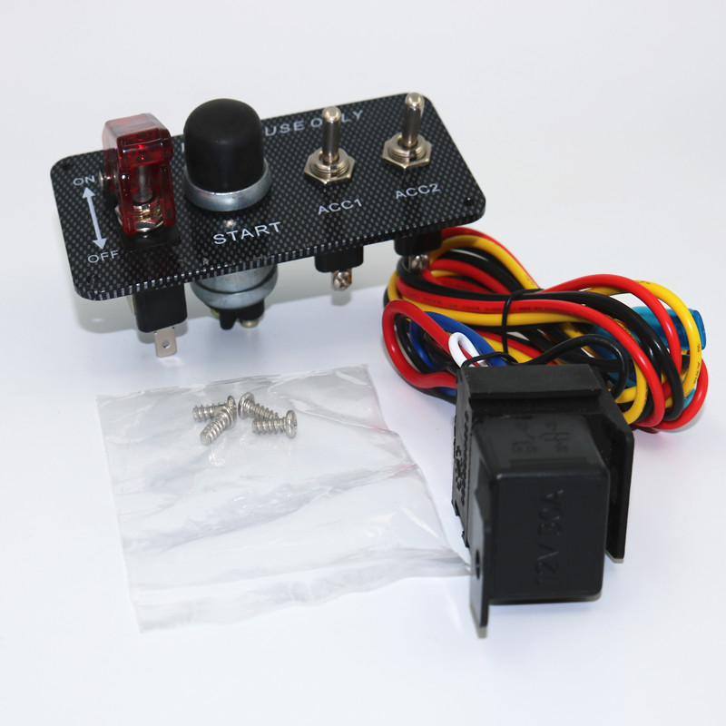 1 Pcs Racing Car 12V Ignition Switch Panel LED Engine Start Push Button Toggle