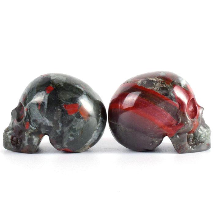Natural African Blood Stone Quartz Carved Skulls Crystal Healing Quartz Skulls Carved