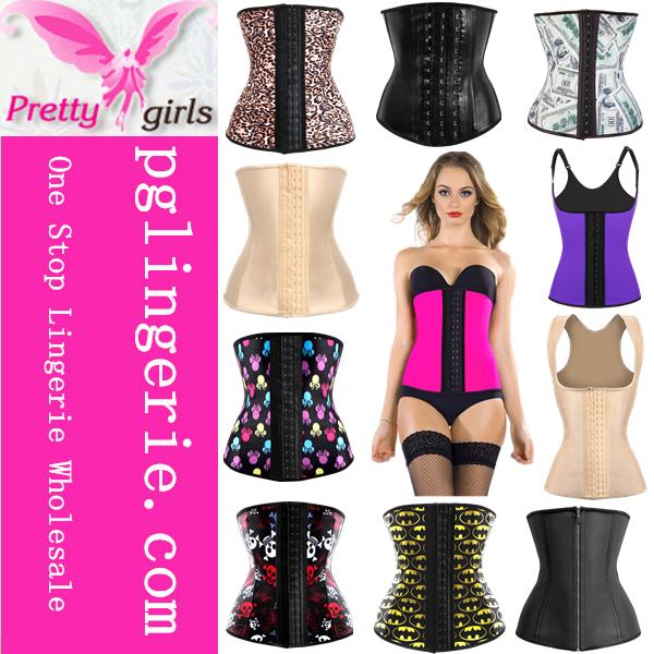 2016 Fancy Sexy Waist Corsets Women Adult Plus Size Corsets Steel Bone Latex Corsets