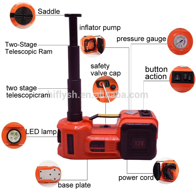3663 CARAYMIN Electric Hydraulic Floor Jack Tire Inflator Pump and LED Flashlight 3 in 1 Set with Electric Impact Wrench
