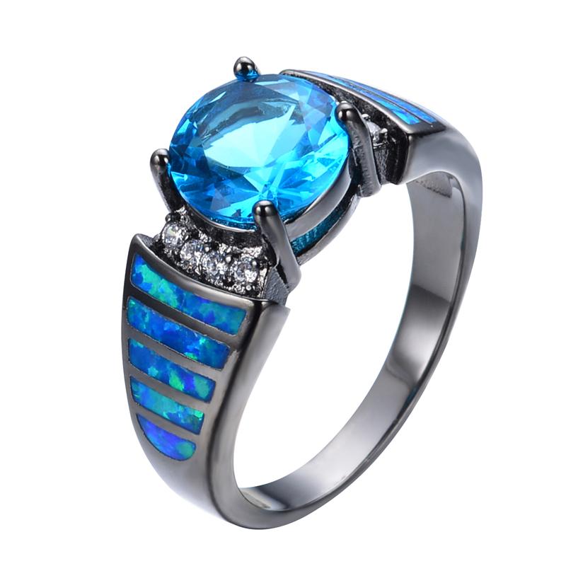 Vintage Aquamarine Sapphire Jewelry Blue Fire Opal Ring