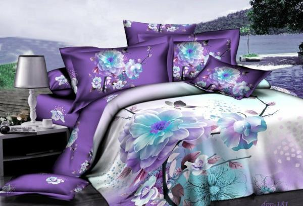 Purple Blue Floral Flower Bedding Set For Queen Size Duvet