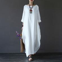 Cotton Linen White Maxi Dress Women Spring Summer Loose Plus Size Big Hem  Boho Robe Long 7da7f0e1d7c1