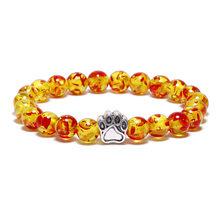 2018 тренд натуральный камень 8 мм бисерные браслеты для йоги милый, собака, кот лапка Шарм, мужской браслет женские ювелирные изделия рождест...(Китай)
