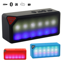 Mini Colorful LED Lights Wireless Bluetooth Computer Speaker Handsfree Stereo Surround Speaker and FM Radio for Iphone6 Samsung