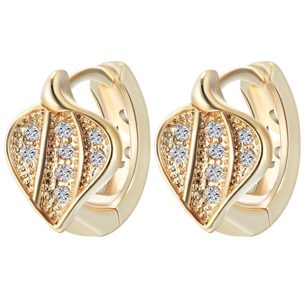 Latest Style Leaf Micro Pave Cz Diamond Earrings Jewelry