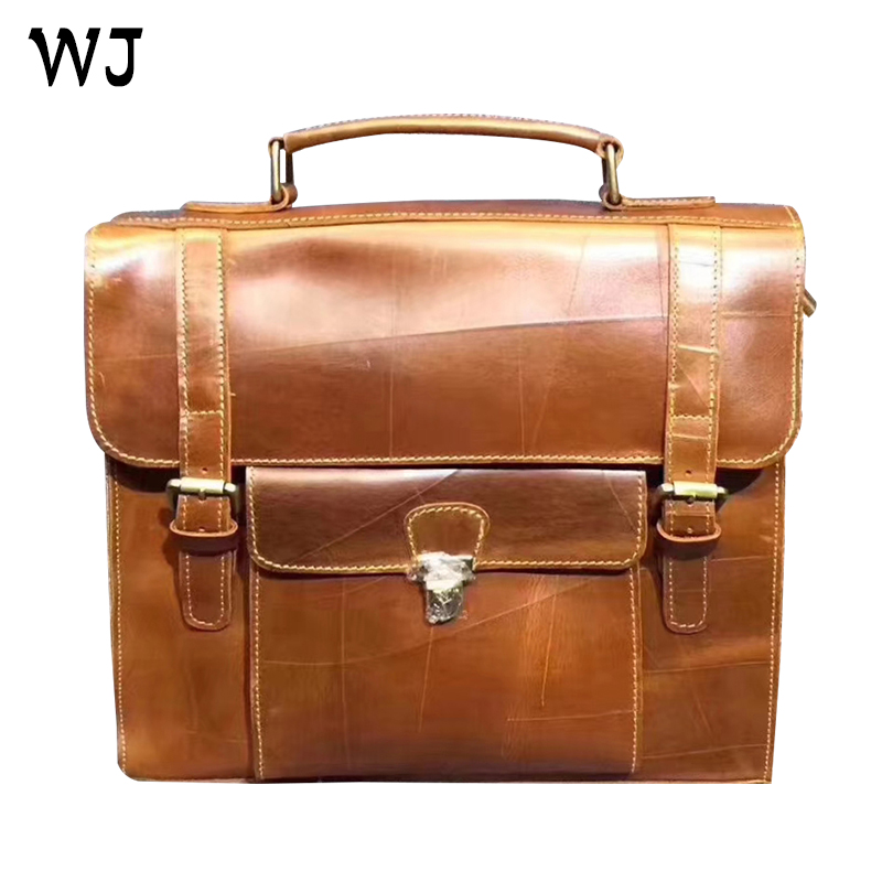 Hot sale high quality luxury durable vintage leather business briefcase for computer MOQ 1 piece in stock customize OEM service