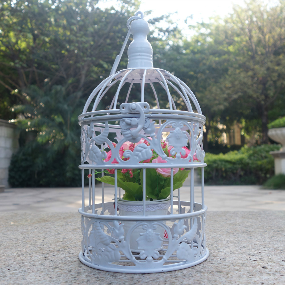 Small Metal Bird Cage Vintage Iron Antique White