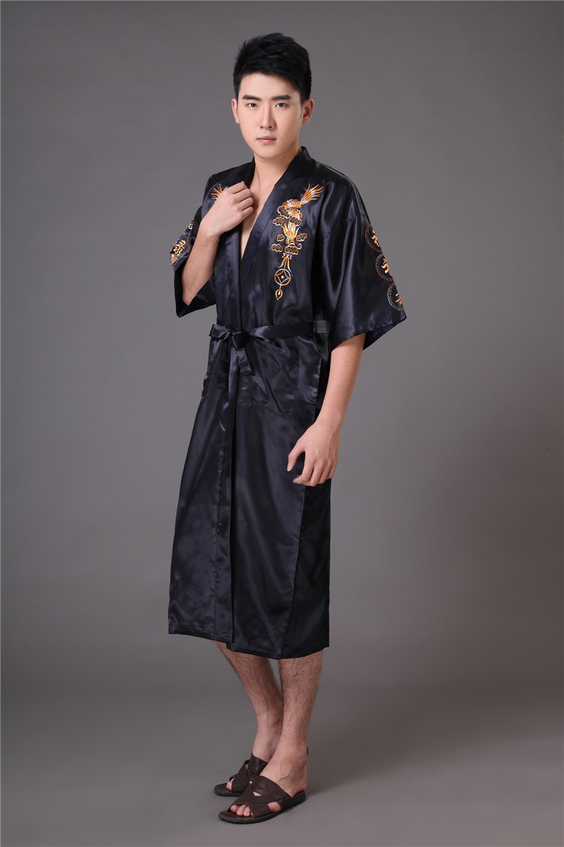 2019 clearance sale first look hot-selling genuine 2019 Chinese Long Men'S Satin Silk Home Robe Embroidery Male Kimono Bath  Dressing Gown Dragon Nightgowns Pyjamas Sleepwear From Maoyili, &Price; |  ...