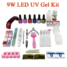 9W LED UV Gel Set Soak Off UV Lacquers Kit LED Curing Lamp Base Top Coat Cleanser Plus Nail Brush Polish Remover Set