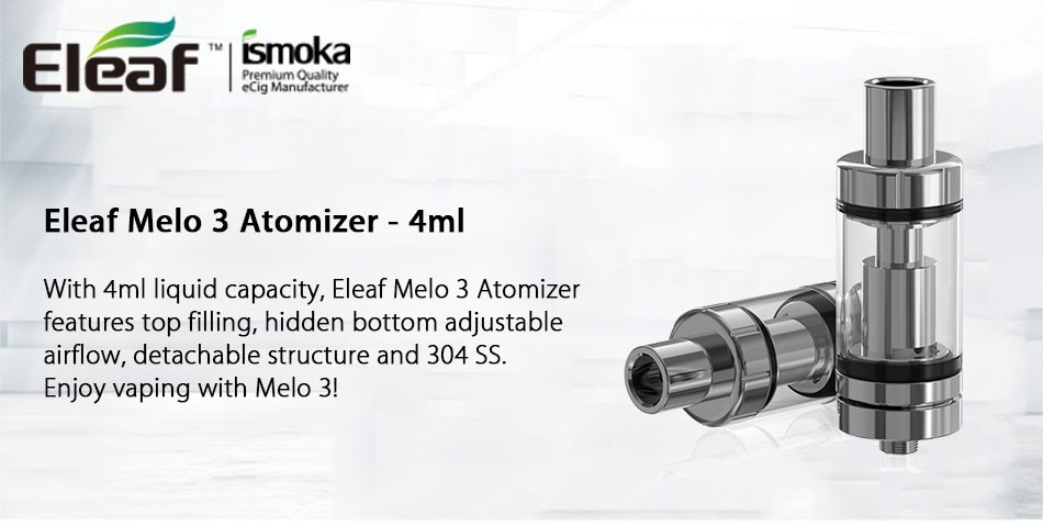 Eleaf Melo 3 Melo III Atomizer Vape 4ml Top Filling Airflow Control Subohm  Tank - For Istick Pico Mod