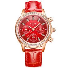 Relogio feminino Для женщин часы LIGE Элитный бренд девушка кварцевые часы Повседневное кожа женская одежда часы Для женщин часы Montre Femme(China)