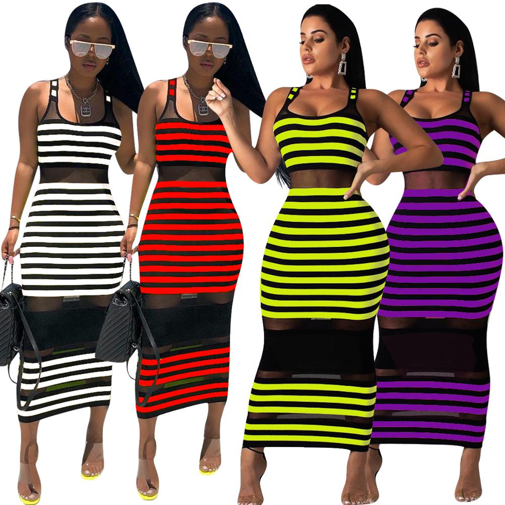 Tight Dress Transparent Sexy Net Yarn Stripe Patchwork Club Womens Tea-length Breathable Plain Dyed Sleeveless Anti-static
