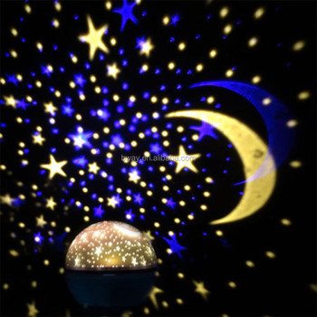 led light projector Bright Colours 360 Degree Moon Star Projection Night Light - Kids Baby Bedroom and Nursery - Great Gift Idea