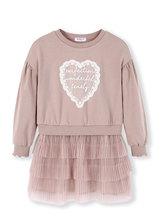 Детское платье для девочек Balabala, имитация двух предметов, толстовка с кружевной аппликацией + Плиссированное плиссированное платье для мал...(Китай)