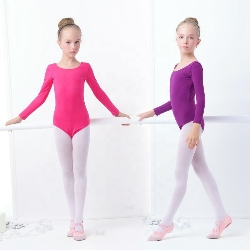 Long Sleeve Girls Ballet Dance Leotards Toddler Kids Cotton Bodysuit Gymnastics Leotard