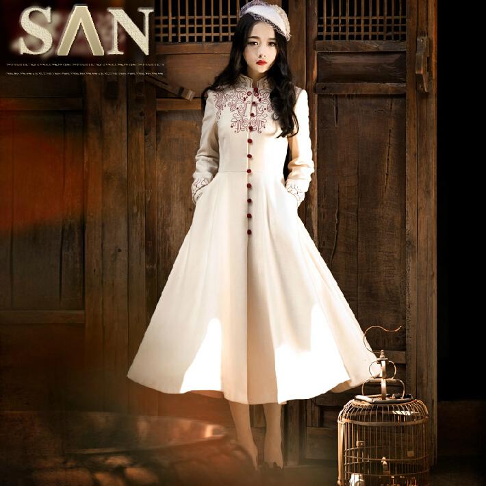 women vintage style flowers embroidery woolen long skirt wool trench coat outerwear overcoat