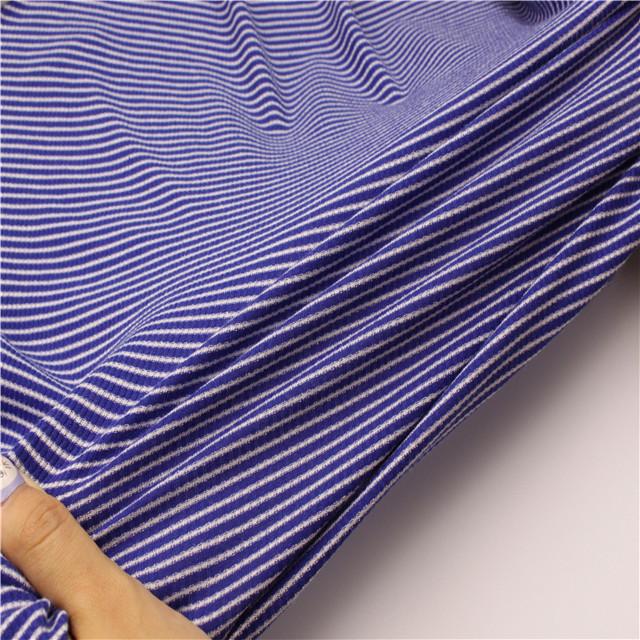 Factory direct custom blue and white stripe 1x1 rib knit fabric for t-shirt collar rib
