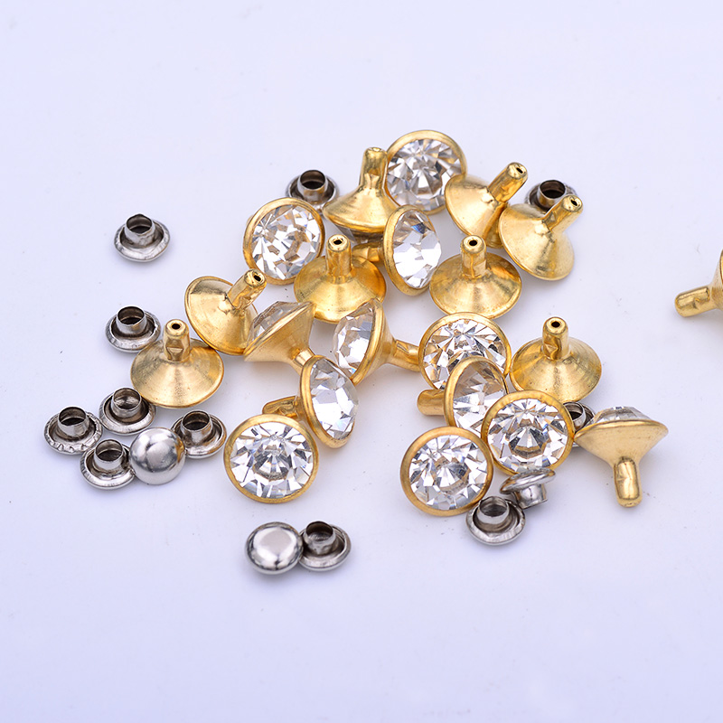 10mm Gold Silver Metal Studs Spikes Brass Rhinestones Rivets Decoration Clear Glass Stones For Leather Clothes Shoes DIY Crafts