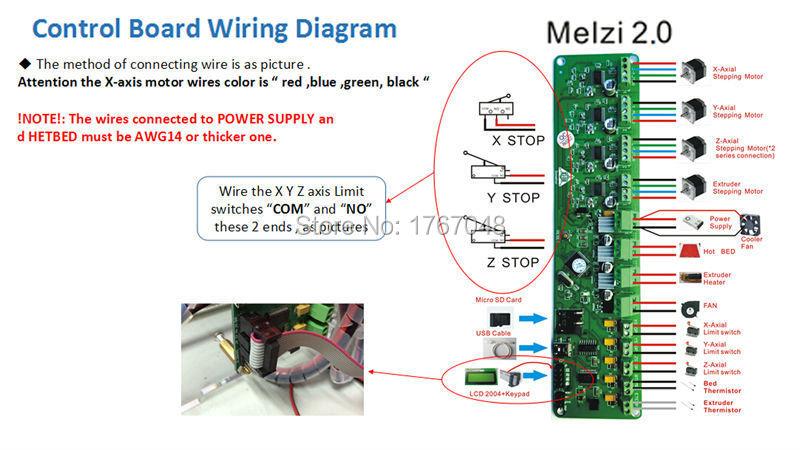 Free shipping Melzi 2 0 1284P Reprap Control Mainboard Prusa I3 MK1 2 3,3 D  3d Printer Controller PCB