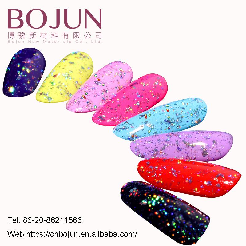 Bojun Manufacturer Rainbow Nails Polish Glitter Colorful Laser Silver Holographic Glitter Nails Chrome Powder