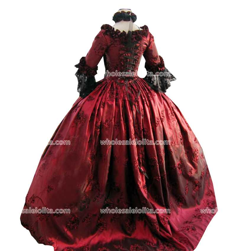 Top Sale 18th Century Marie Antoinette Red Victorian Dress Period Gown - Cheap Wedding Dresses