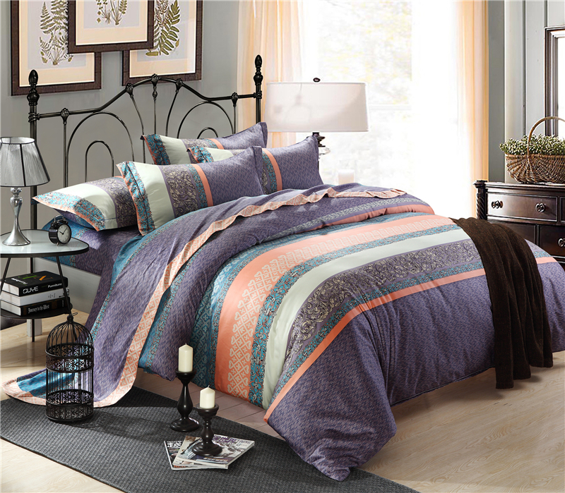 new arrival mordern style 100 cotton comforter bedding set queen king size purple quilt cover. Black Bedroom Furniture Sets. Home Design Ideas