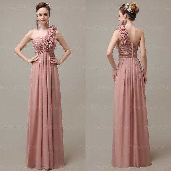 Wholesale Newest Simple Design Elegant Bridal Dress A Line: One Shoulder Elegant Popular Blush Bridesmaid Dresses