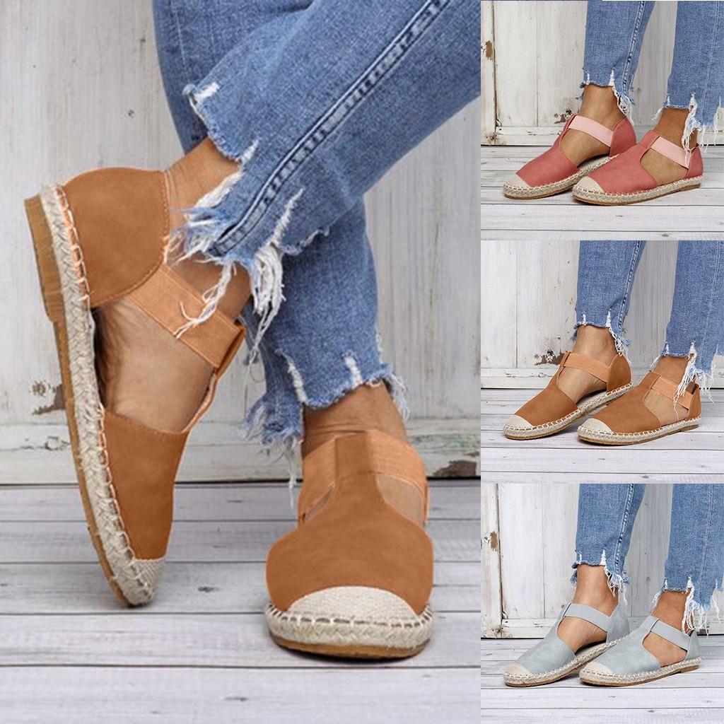 Neue Sandalen Für Frauen Strand Schuhe Sommer Damen Plus Größe Schuhe Mädchen Mode Retro Niedrigen Flachen Sandalen Runde Kappe Freizeitschuhe