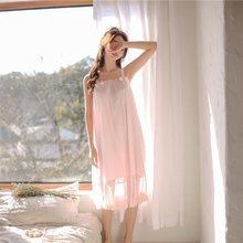 Модальные Белые Кружевные ночные рубашки без рукавов для женщин Ретро Винтаж принцесса женские свободные пижамы сексуальное ночное платье(Китай)