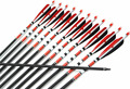 12pcs 31 Spine 500 Red and Black Turkey Feather Target Practice Archery Carbon Arrows for Hunting