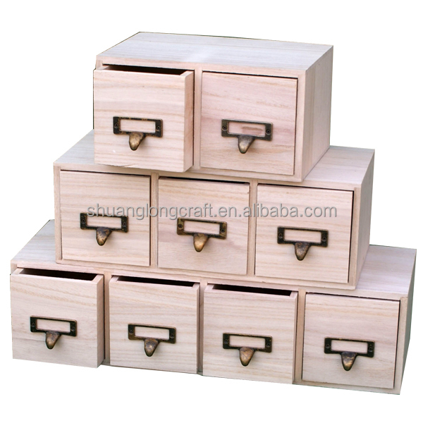 Unfinished Small Wooden Drawers Craft Organizer Box Buy