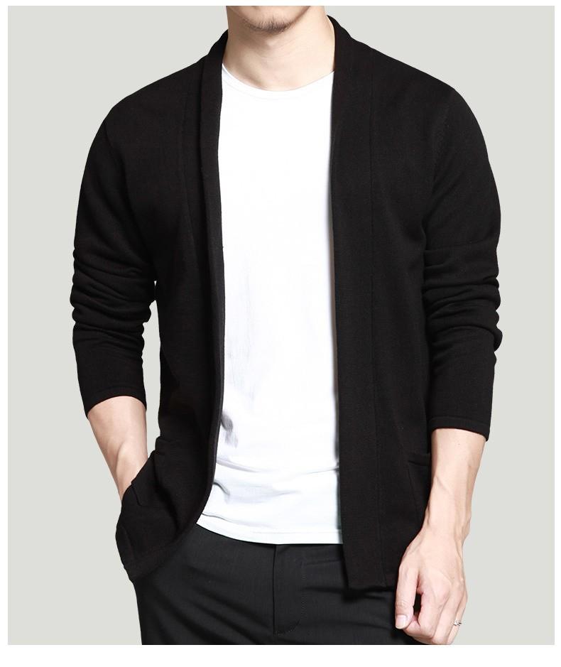 Men cardigan Shawl long sleeve black